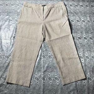Lafayette 148 Brown Pinstripe Crop Pants Size 14